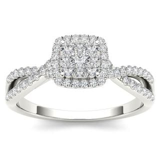 De Couer 10k White Gold 1/2ct TDW Diamond Halo Engagement Ring