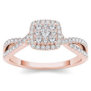 De Couer 10k Rose Gold 1/2ct TDW Diamond Halo Engagement Ring