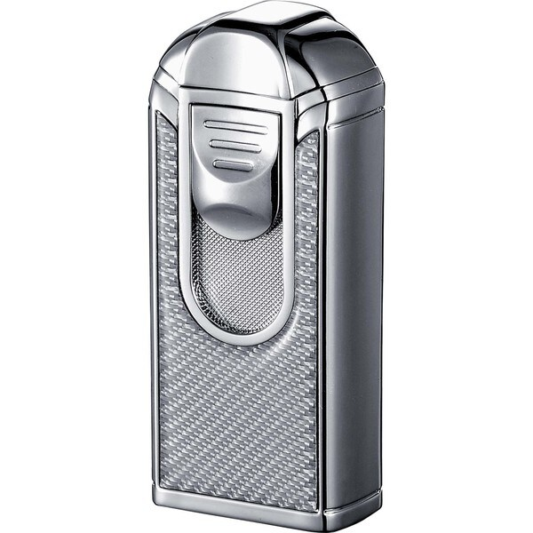 Visol Alec III Chrome and White Carbon Fiber Triple Torch Flame Lighter  - Ships Degassed