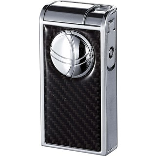 Visol Infinity Flame Chrome and Carbon Fiber Double Torch Cigar Lighter - Ships Degassed