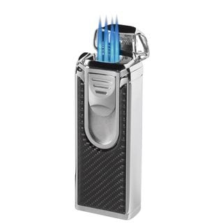 Visol Yozora Carbon Fiber Quad Torch Flame Cigar Table Lighter - Ships Degassed