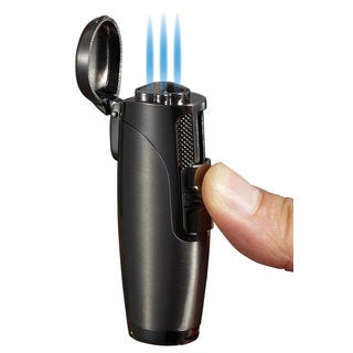 Visol Triad Triple Jet Flame Cigar Lighter - Gunmetal - Ships Degassed