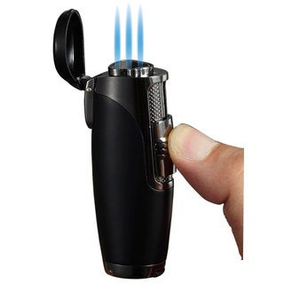 Visol Triad Triple Jet Flame Cigar Lighter - Black Matte - Ships Degassed