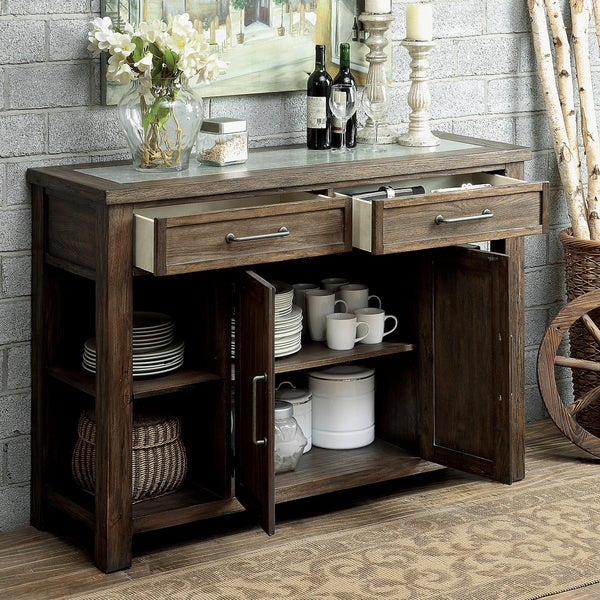 Furniture Of America Bailey Rustic Weathered Elm Dining Server   Free  Shipping Today   Overstock.com   17493509