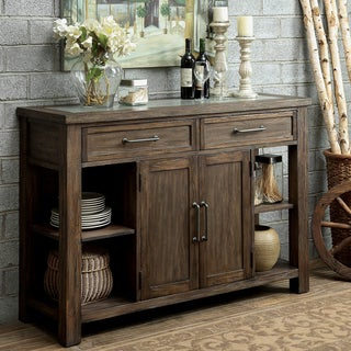 Furniture of America Bailey Rustic Weathered Elm Dining Server