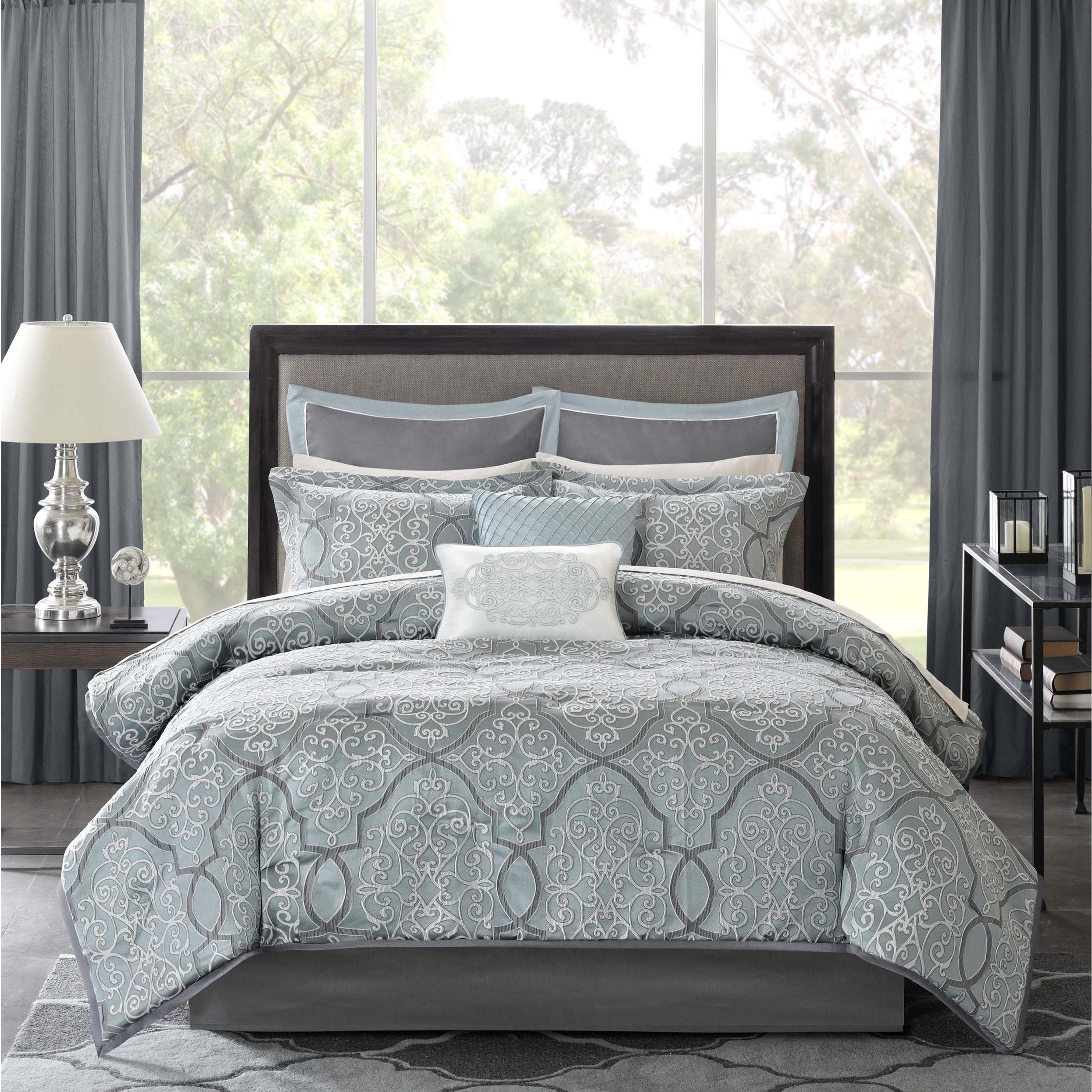 Shop Black Friday Deals On Madison Park Anouk Jacquard 12 Piece Complete Bed Set Overstock 10389807
