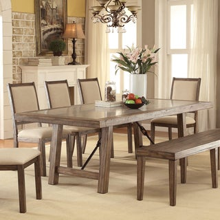 Furniture of America Bailey Rustic Weathered Elm Stone Top Dining Table