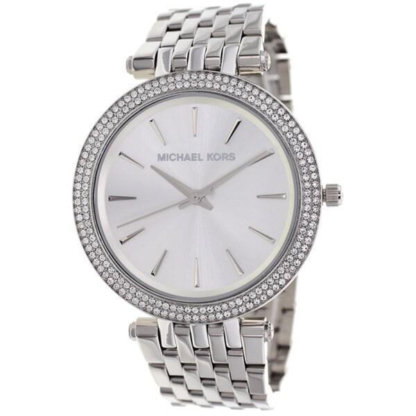 fc2850a54794 Shop Micheal Kors Women s Darci Silver Dial Pave Bezel Diamond Watch ...
