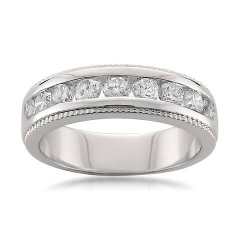 Montebello Platinum 1ct TDW Round-cut White Diamond Channel-set Wedding Band