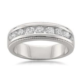 Montebello Platinum 1ct TDW Round-cut White Diamond Channel-set Wedding Band (H-I, SI1-SI2)