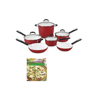 Cuisinart 59-10R Elements Nonstick 10-Piece Cookware Set (Red) + Not Your Mother's Weeknight Cooking (CookBook)