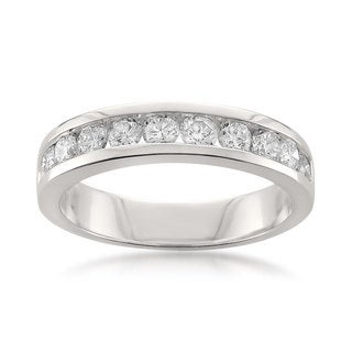 Montebello Platinum 1ct TDW Round-cut White Diamond Channel-set Wedding Band