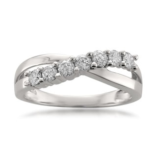 Montebello 14k White Gold 1/2ct TDW Round-cut White Diamond Wedding Band (H-I, I1-I2)