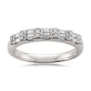 Link to Montebello 14KT White Gold 1/2ct TDW Round and Baguette Wedding Band Similar Items in Wedding Rings