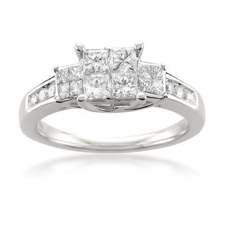 Montebello 14k White Gold 1ct TDW Princess-cut 3-Stone Composite Set White Diamond Engagement Ring (H-I, I1-I2)