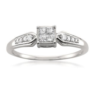 Montebello 14k White Gold 1/4ct TDW Princess-cut White Diamond Composite Engagement Ring
