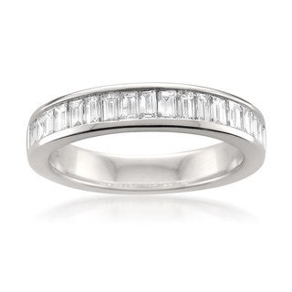 Montebello 14k White Gold 1ct TDW Baguette-cut Diamond Wedding Band