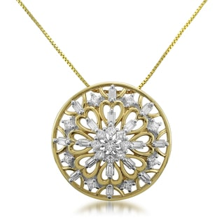 Montebello 14k Yellow Gold 1/2ct TDW Diamond Medallion Pendant (H-I, SI1-SI2)