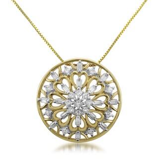 Montebello 14k Yellow Gold 1/2ct TDW Diamond Medallion Pendant