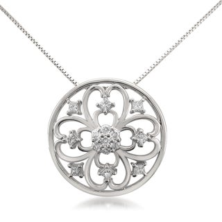 Montebello 14k White Gold 1/3ct TDW Diamond Pendant (H-I, SI1-SI2)