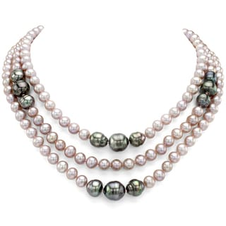 DaVonna Sterling Silver Black Tahitian and Pink Freshwater Pearl 3-row Necklace