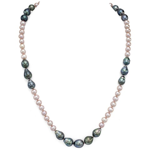 """DaVonna 6-7mm Pink Freshwater Pearl 8-12mm Baroque Tahitian Pearl Endless Necklace, 28"""""""