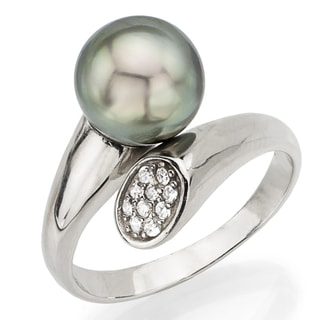 DaVonna Sterling Silver Tahitian Pearl and Cubic Zirconia Adjustable Ring