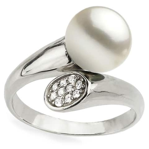 DaVonna Sterling Silver White Pearl and Cubic Zirconia Adjustable Ring