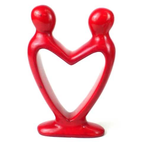 Handmade 8-inch Red Soapstone Lover's Heart Sculpture (Kenya)