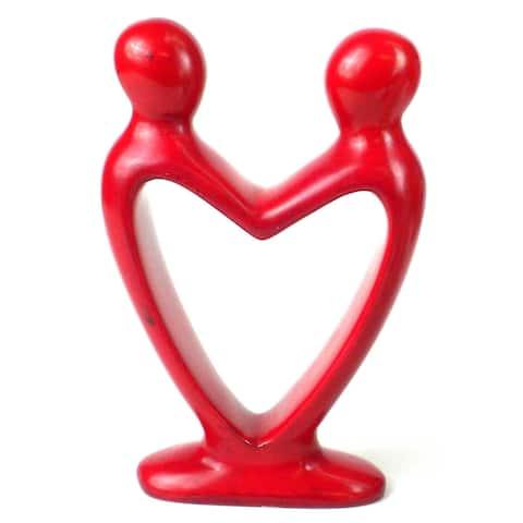 """Handmade 8"""" Red Soapstone Lover's Heart Sculpture (Kenya)"""