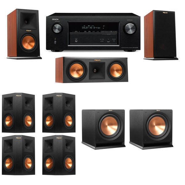Klipsch RP-150M-CH Monitor Speaker 7 2 R112SW Denon AVR-X2100W