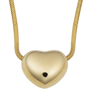 Fremada 14k Yellow Gold High Polish Puff Heart on Round Snake Chain Necklace