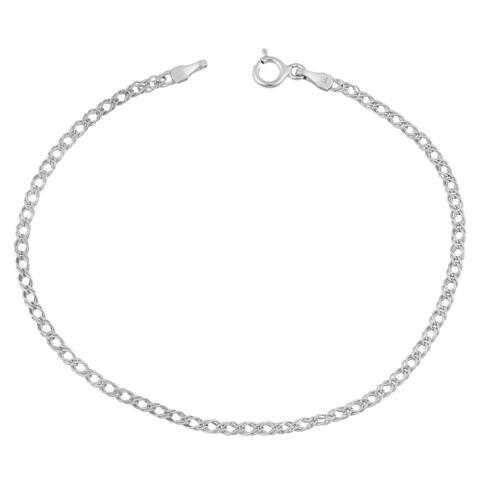 Fremada 14k White Gold 2-mm Diamond Weave Bracelet