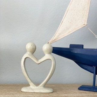 Handcrafted 8-inch Soapstone Lover's Heart Sculpture in White