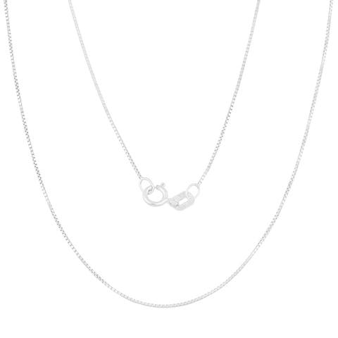14k White Gold 0.5-mm Delicate Box Chain (14 -30 inches)