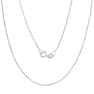 Fremada 14k White Gold 0.5-mm Delicate Box Chain (14 -30 inches) (More options available)