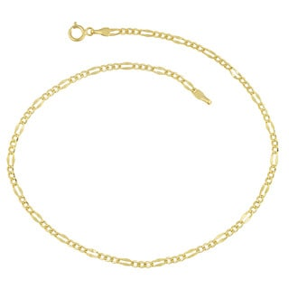 Fremada 14 k Yellow Gold High Polish Flat Figaro Anklet (10 inches)