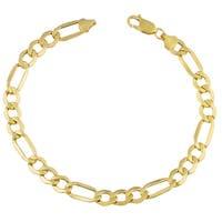 Fremada 10k Yellow Gold Men's Figaro Bracelet (9 inches)