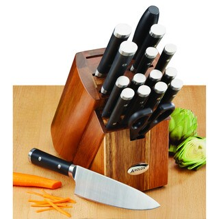 Anolon Cutlery 17-piece Black Japanese Stainless Steel Knife Block Set