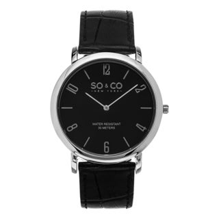 SO&CO New York Men's Madison Quartz Silvertone Bezel Black Leather Watch