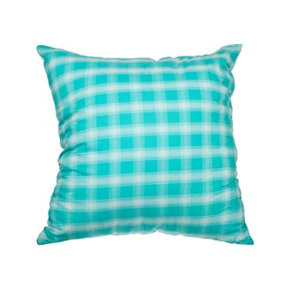 Mint Plaid Down Alternative 18-inch Throw Pillow