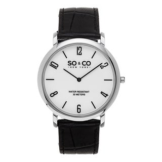 SO&CO New York Men's Madison Quartz White Dial Black Leather Strap Watch