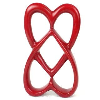 Handcrafted 8-inch Soapstone Red Connected Hearts Sculpture (Kenya)