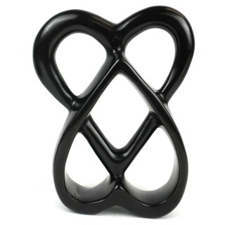 Handcrafted 8-inch Soapstone Connected Hearts Sculpture in Black