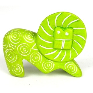 Mini Handmade Green Soapstone Funky Lion Sculpture (Kenya)