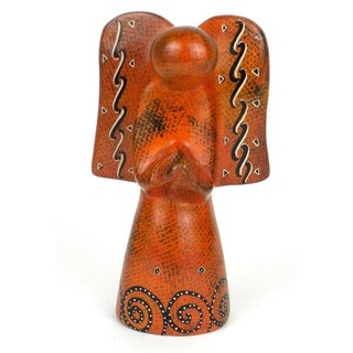 Handmade 5-inch Soapstone Angel Sculpture in Orange (Kenya)