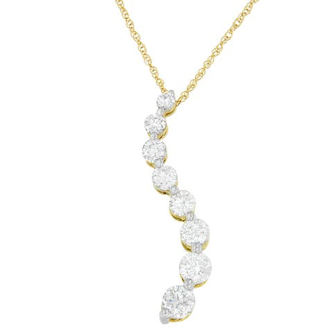 14k Gold 3ct Round and Baguette Diamond Journey of Love Pendant Necklace (I-J, I2-I3)