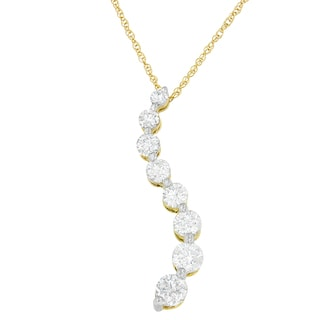 14k Gold 3ct Round and Baguette Diamond Pendant (I-J, I2-I3)