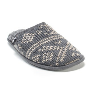 Muk Luks Men's Grey Gavin Pattern Slippers