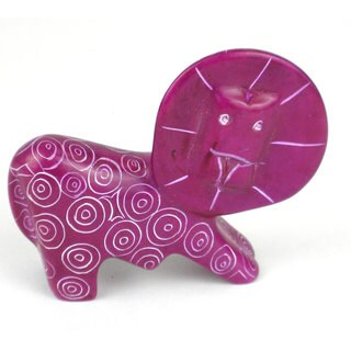 Handcrafted Mini Soapstone Painted Lion Sculpture in Purple (Kenya)